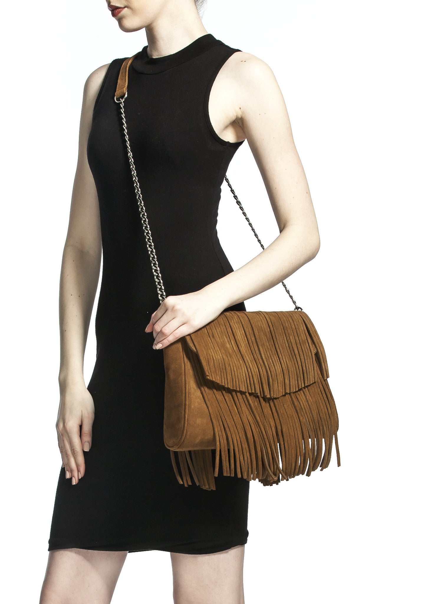 Mel Boteri | Tan Suede Leather 'Taylea' Fringed Handbag | Model