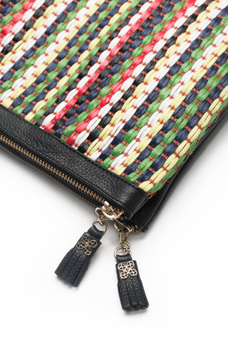 Mel Boteri | Multicolor Raffia and Black Leather 'Abbey' Clutch | Detail View