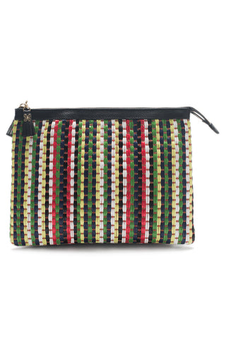 Mel Boteri | Multicolor Raffia and Black Leather 'Abbey' Clutch | Front View