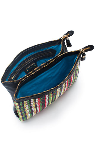 Mel Boteri | Multicolor Raffia and Black Leather 'Abbey' Clutch | Signature Turquoise Lining View