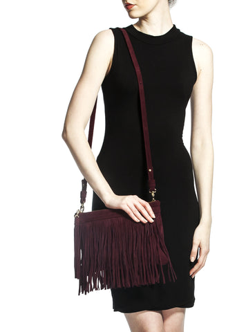 Mel Boteri | 'Mini Taylea' Burgundy Suede Fringed Bag | Model