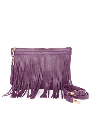 Eggplant Purple Leather 'Taylea Mini' Shoulder Bag | Mel Boteri | With Strap View