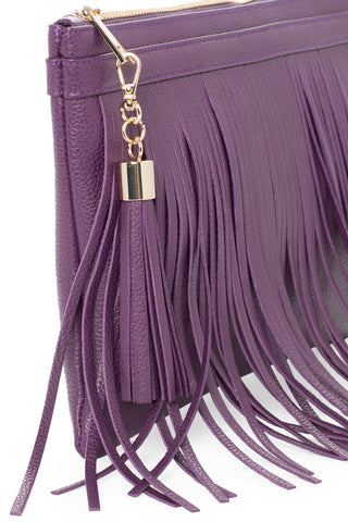 Eggplant Purple Leather 'Taylea Mini' Shoulder Bag | Mel Boteri | Detail View