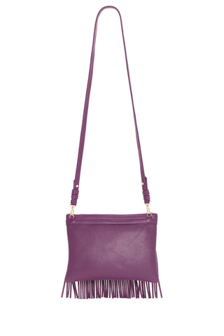 Eggplant Purple Leather 'Taylea Mini' Shoulder Bag | Mel Boteri | Back View