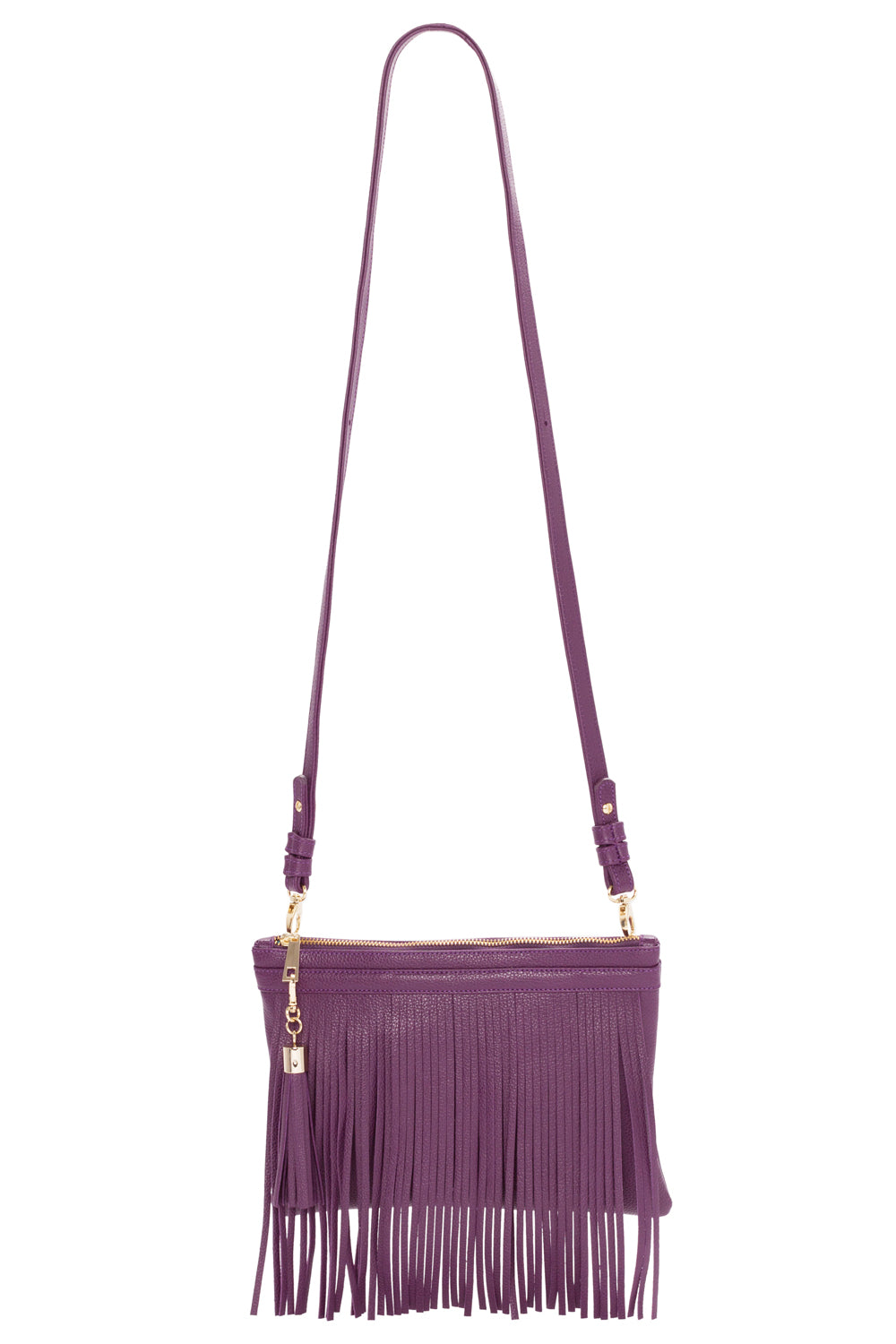 Eggplant Purple Leather 'Taylea Mini' Shoulder Bag | Mel Boteri | Front View