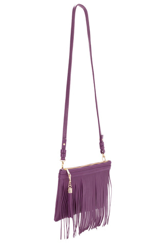 Eggplant Purple Leather 'Taylea Mini' Shoulder Bag | Mel Boteri | Side View