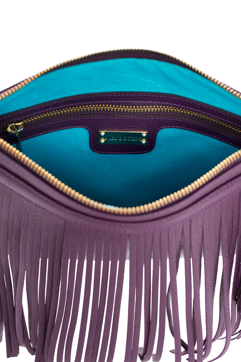 Eggplant Purple Leather 'Taylea Mini' Shoulder Bag | Mel Boteri | Interior View
