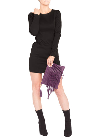 Eggplant Purple Leather 'Taylea Mini' Shoulder Bag | Mel Boteri | Clutch View