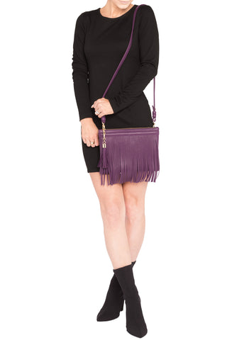 Eggplant Purple Leather 'Taylea Mini' Shoulder Bag | Mel Boteri | Model View