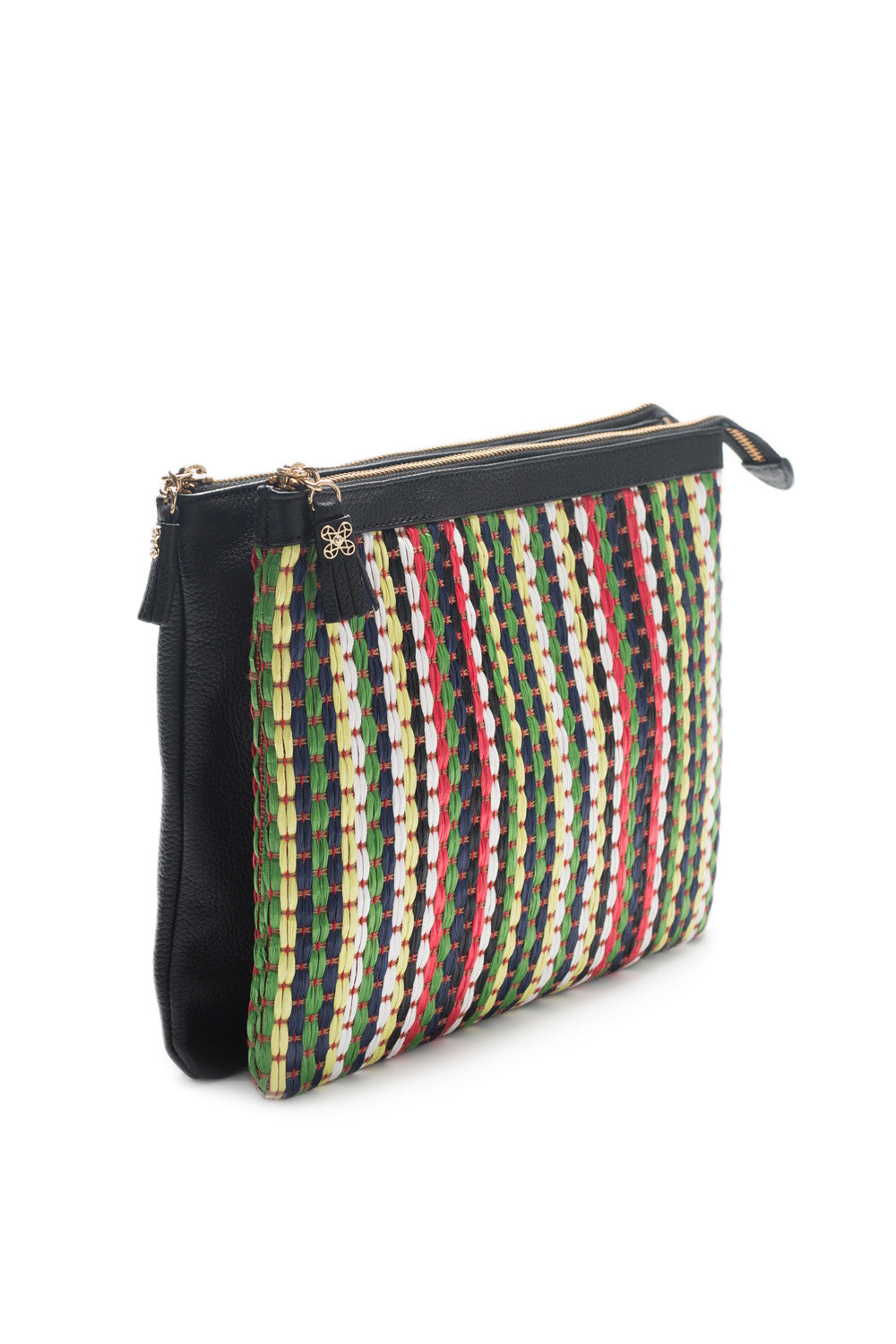Mel Boteri | Multicolor Raffia and Black Leather 'Abbey' Clutch | Side View