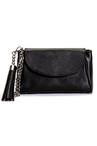 black saffiano italian leather handmade handbag with tassel front view