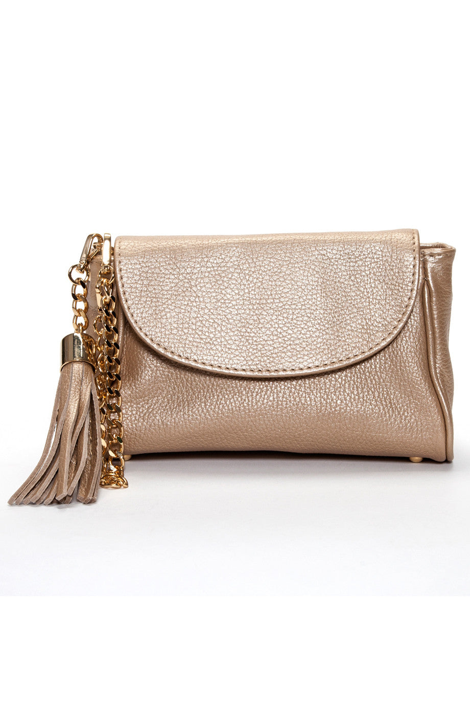 matte gold italian leather handmade handbag with tassel front view