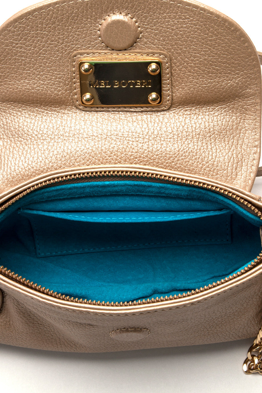 handmade classic leather handbag with turquoise suede lining