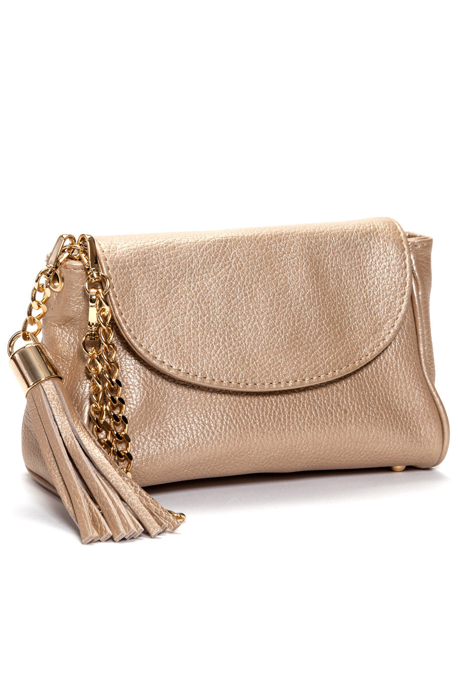 matte gold italian leather handmade handbag with tassel and chain wristlet strap