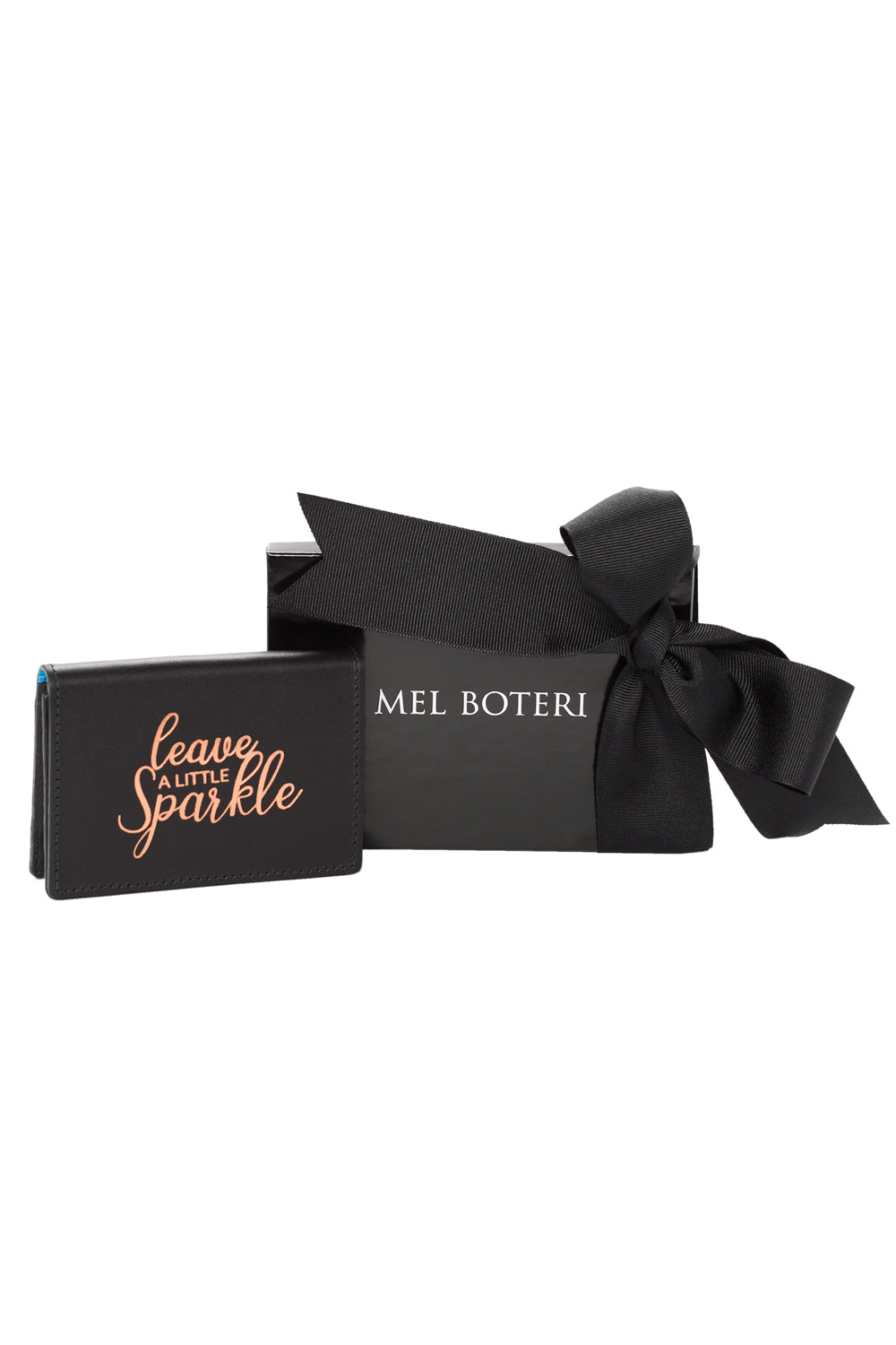 Mel Boteri | 'Leave A Little Sparkle' Cardholder | Black Leather | Signature Packaging