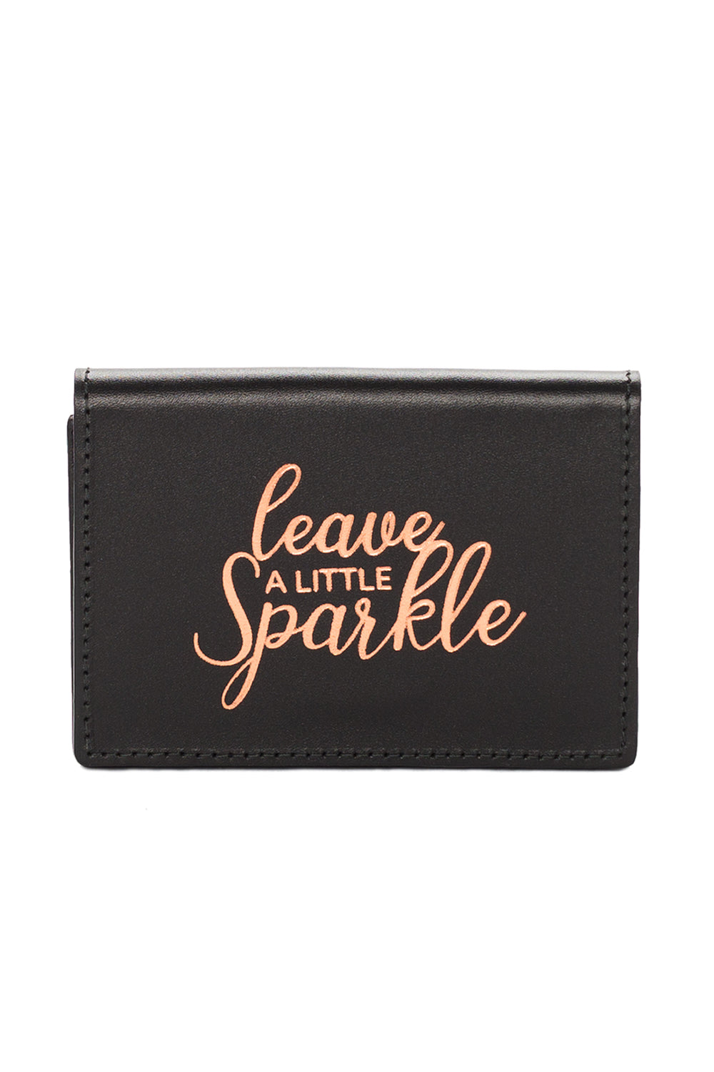 Mel Boteri | 'Leave A Little Sparkle' Cardholder | Black Leather | Front
