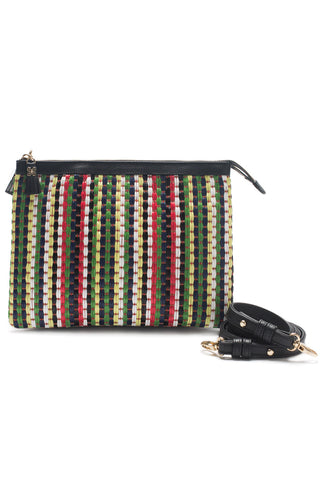 Mel Boteri | Multicolor Raffia and Black Leather 'Abbey' Clutch | With Strap View