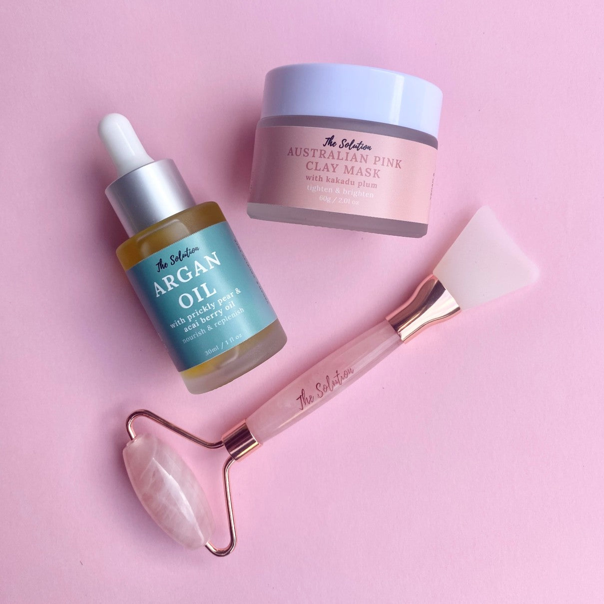 Australian Pink Clay Mask Argan Oil and Rose Quartz 2 in 1 Face Roller and Applicator