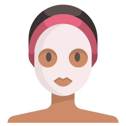 Graphic icon of clay mask on woman's face