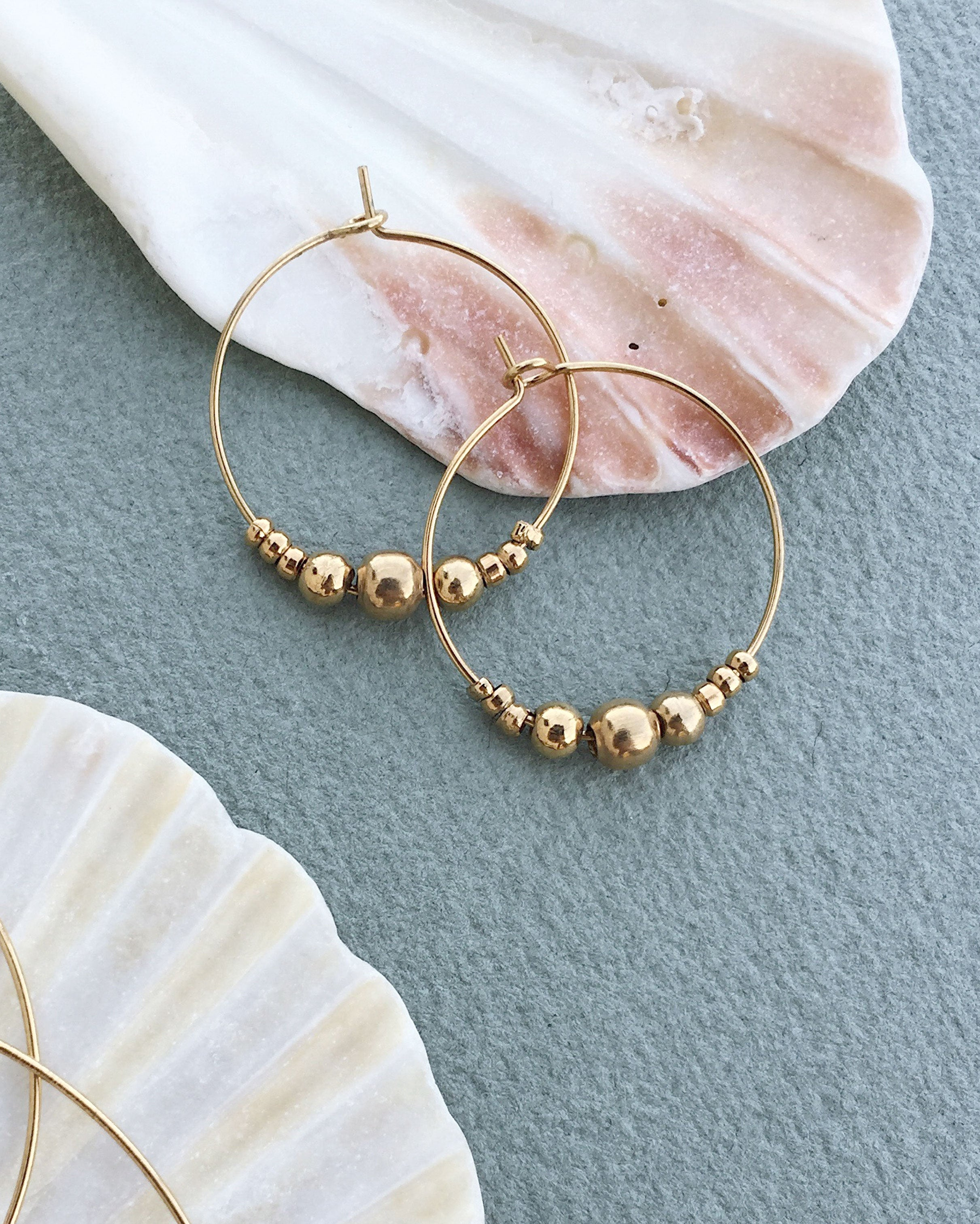 Golden Beads Big Hoop Earrings