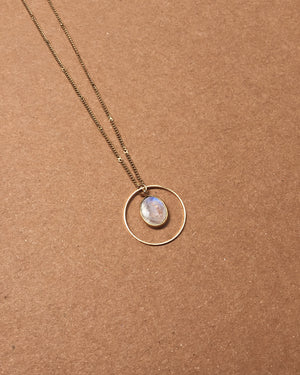 White Moonstone Circle Necklace