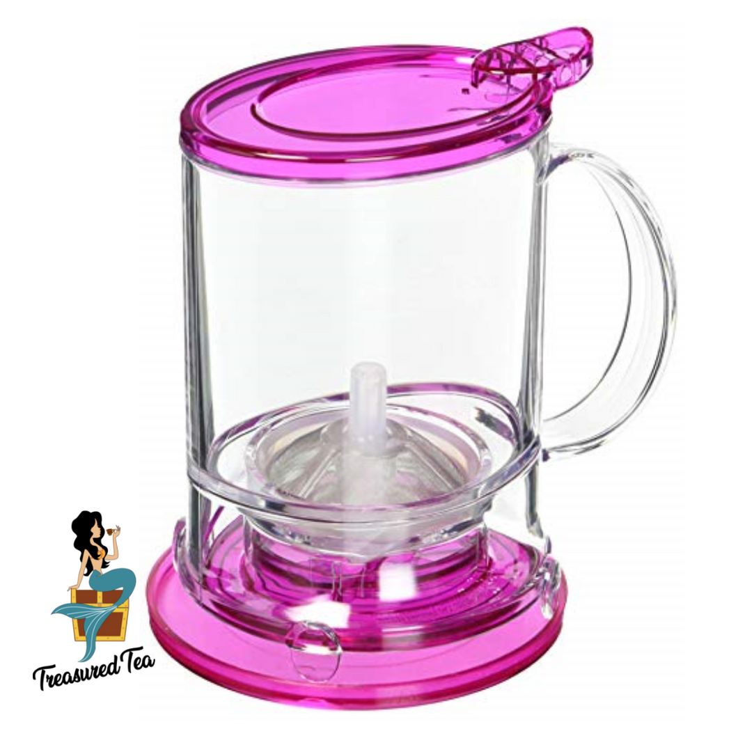 Infuser / Bottom Dispensing Tea Maker, Pink, 16 Ounces