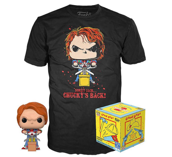Child's Play 2 - Chucky #841 Funko Pop! Vinyl & Pop! Tee Bundle (FYE Exclusive)