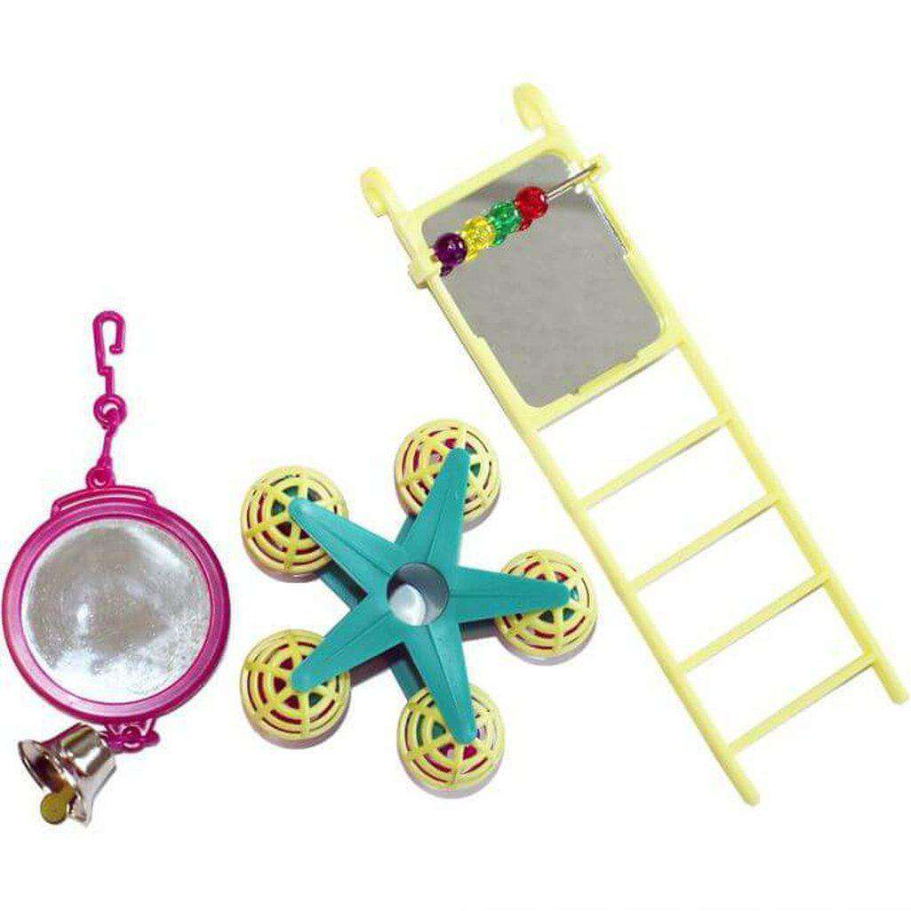 Fun at the Fair Bird Toy Multipack Mirror/Ladder/Carousel-Bird Toys-Happy pet-Dofos Pet Centre