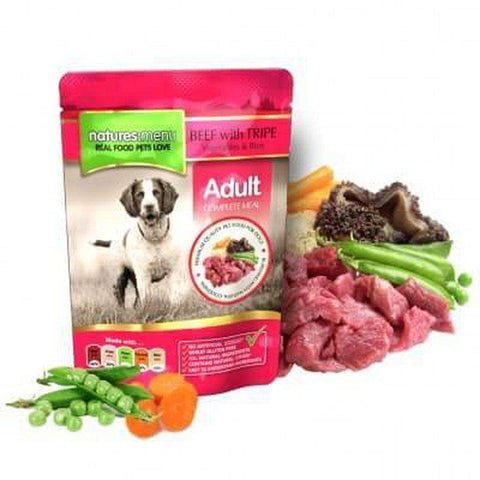 Natures Menu Beef with Tripe Food Pouch 300g