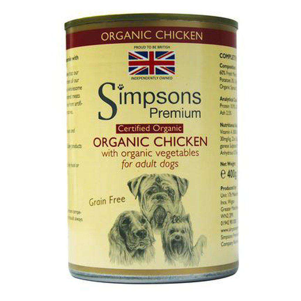 Simpsons Premium Certified Organic Adult Chicken Casserole 400g-Dog Wet Food-Simpsons-Dofos Pet Centre