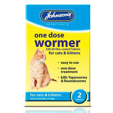 Johnson's One Dose Wormer for Cats and Kittens 2 Tablets