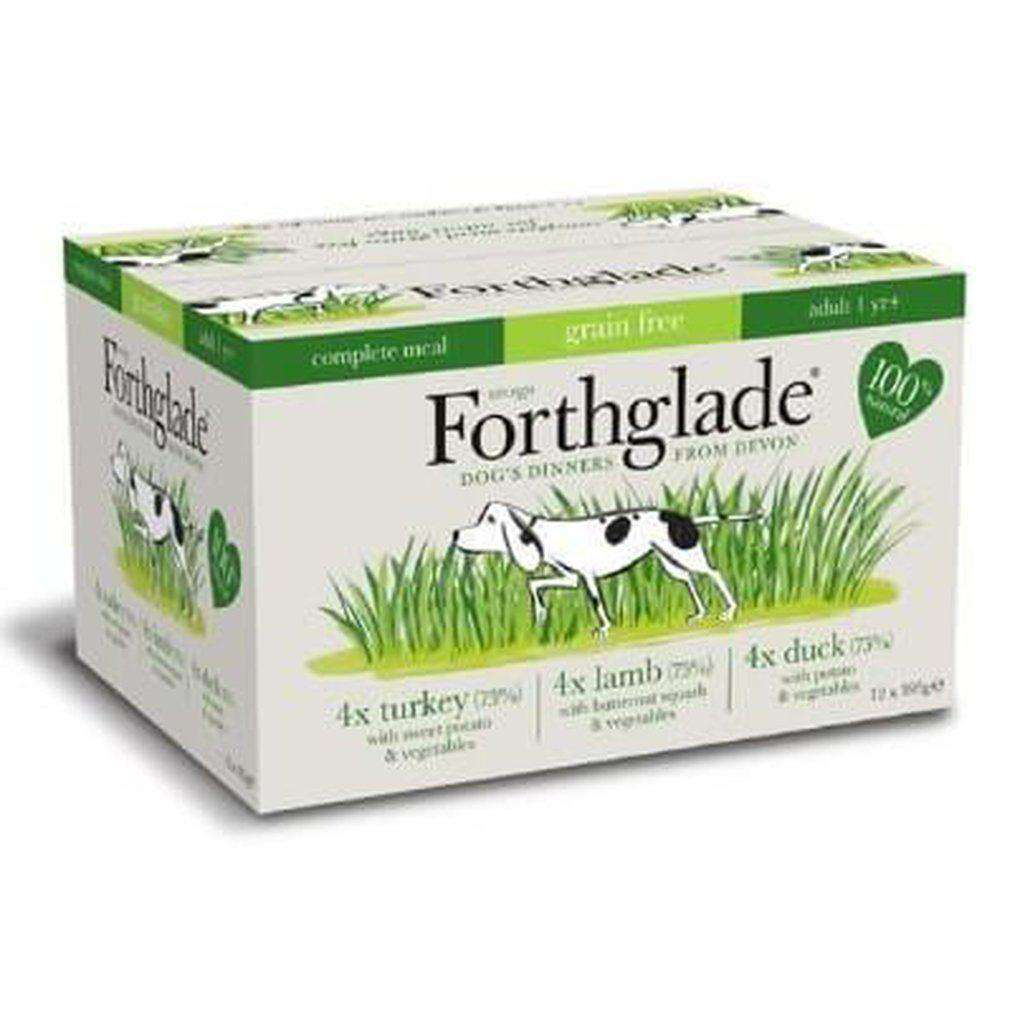 Forthglade Complete Meal Adult Grain Free Variety Pack (Lamb, Turkey, Duck), 12 x 395g
