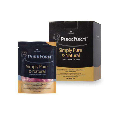 Purrform Venison & Farmed Rabbit And Ground Bone With Rabbit Liver Complete Pouch 70gx6