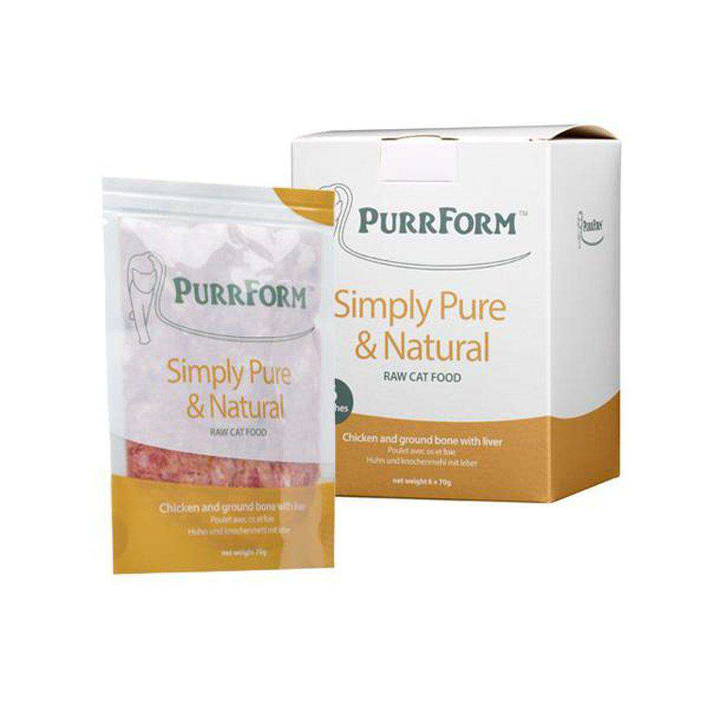 Purrform Chicken And Ground Bone With Liver Complete Pouch Raw Cat Food 70g