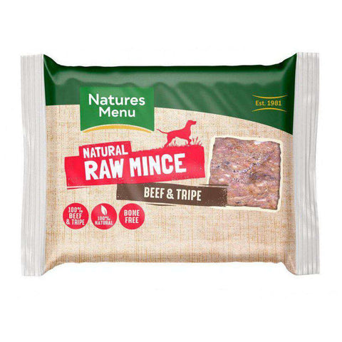 Natures Menu Beef Mince & Tripe Portions Raw Dog Food 400g