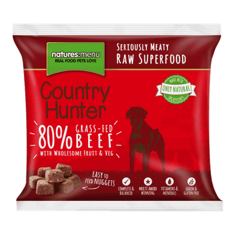 Natures Menu Country Hunter Superfood Nuggets Grass-Fed Beef Raw Dog Food