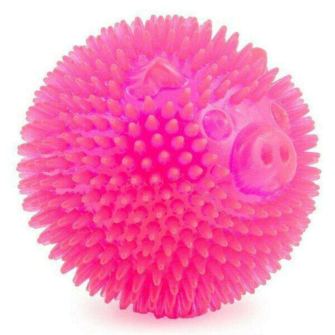 Ancol Flashing Spiky Star Ball Pig Pink 9cm Dog Toy