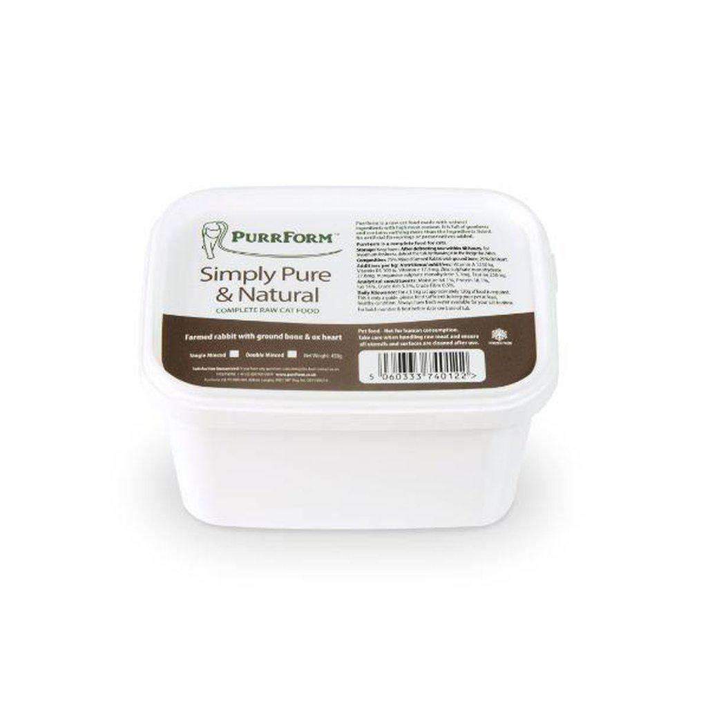 Purrform Minced Raw Farmed Rabbit Meat And Bone With Ox Heart 450g