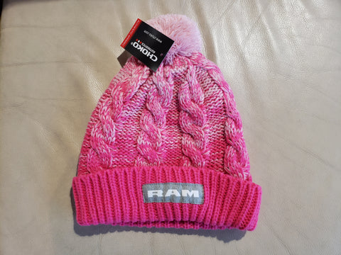 Ladies Pink PomPom Beanie/Toque