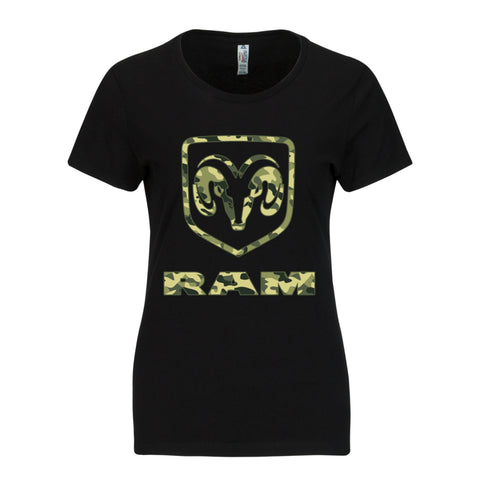 RAM Trucks Ladies Camo Shirt - Green on Black T-Shirt
