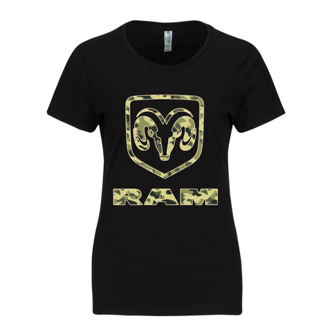 RAM Trucks Ladies Camo Shirt - Green with Tan on Black T-Shirt
