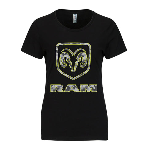 RAM Trucks Ladies Camo Shirt - Grey on Black T-Shirt