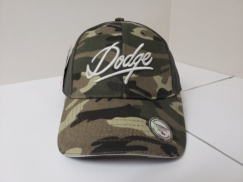 Vintage Camo Dodge Perforated Black Velcro Baseball Cap CLEARANCE