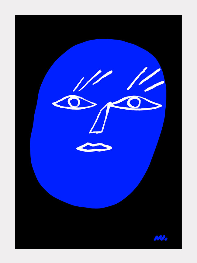 Abstract Blue Face
