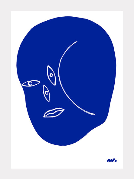 Abstract Face Blue