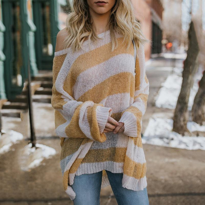 Loose Round Neck Stripes Long Batwing Sleeve Knitting Sweaters