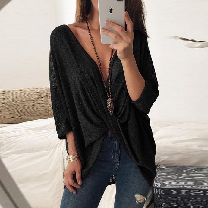 Deep V Neck  Loose Fitting  Hollow Out Plain  Batwing Sleeve T-Shirts