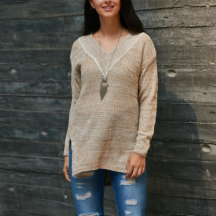 V-Neck Long-Sleeve Knit Sweaters