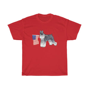 Miniature Schnauzer Patriotic American Flag Unisex Heavy Cotton Tee Independence Day 4th July Schnauzer Lover