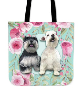 Snowden & Sergeant Custom Tote Bag - Floral on Lite Teal Background